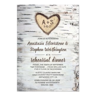 Birch Tree Bark Rustic Country Rehearsal Dinner Invitation