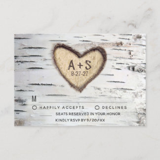 Birch Tree Bark Rustic Country Wedding RSVP Cards