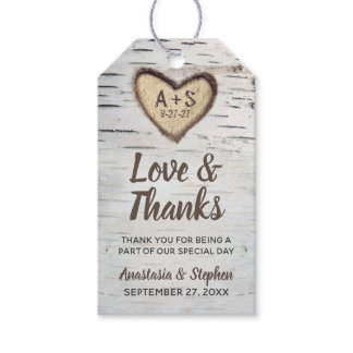 Birch Tree Bark Rustic Country Wedding Thank You Gift Tags