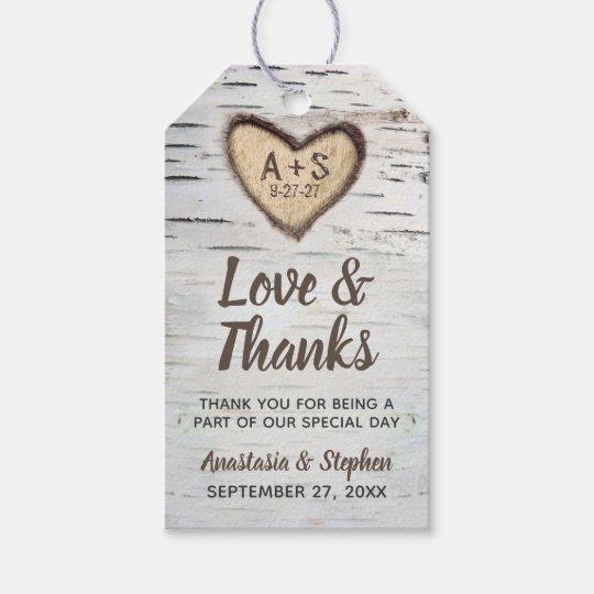 Wedding Thank You Gift Tags: Birch Tree Bark Rustic Country Wedding Thank You Gift Tags