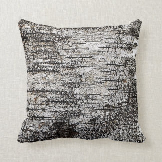 Birch Tree Bark Texture Crackled Brown White Grey Throw Pillow