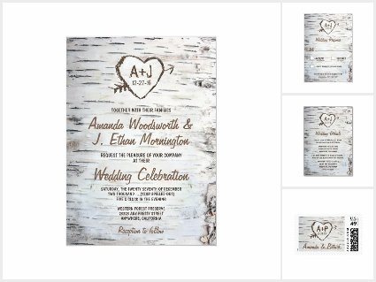 Birch Tree Bark Wedding Invitations Set