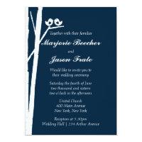 Birch Tree Birds Wedding Invitation - Blue