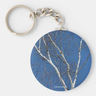 Birch Tree Blue Sky Nature Photo Keychain Keyring