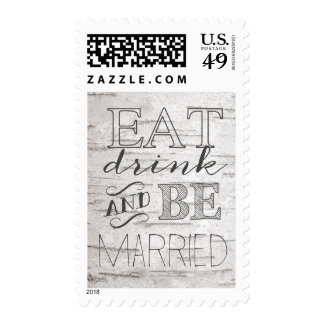 Birch Tree Eat Drink and Be Married Stamp