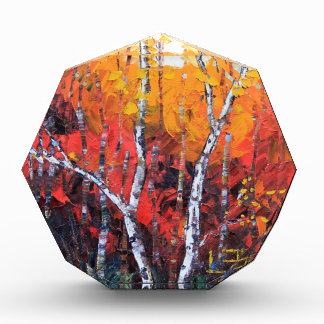 Birch Tree Fall Colorful Palette Knife Painting Award