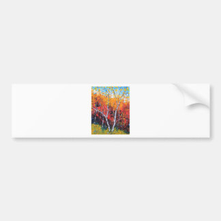 Birch Tree Fall Colorful Palette Knife Painting Car Bumper Sticker