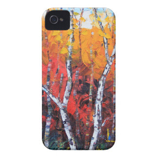 Birch Tree Fall Colorful Palette Knife Painting Case-Mate iPhone 4 Case