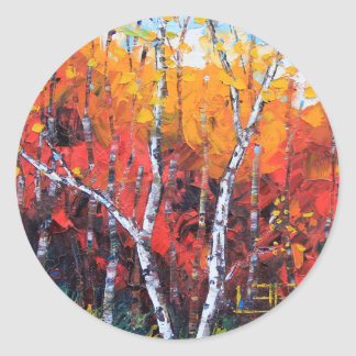 Birch Tree Fall Colorful Palette Knife Painting Classic Round Sticker