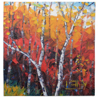 Birch Tree Fall Colorful Palette Knife Painting Napkin