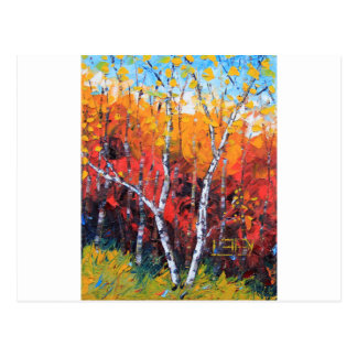 Birch Tree Fall Colorful Palette Knife Painting Postcard