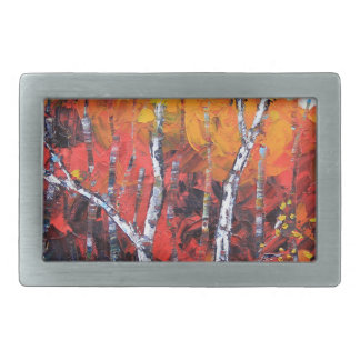 Birch Tree Fall Colorful Palette Knife Painting Rectangular Belt Buckle