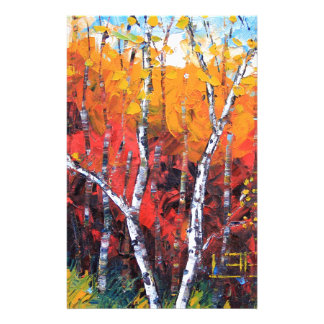 Birch Tree Fall Colorful Palette Knife Painting Stationery