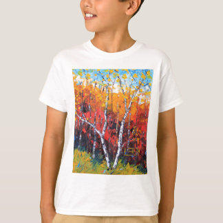 Birch Tree Fall Colorful Palette Knife Painting T-Shirt
