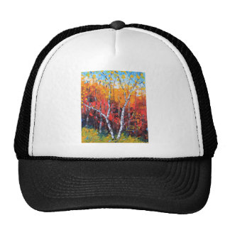 Birch Tree Fall Colorful Palette Knife Painting Trucker Hat