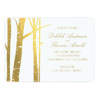 Birch Tree Faux Gold Foil Wedding Invitation