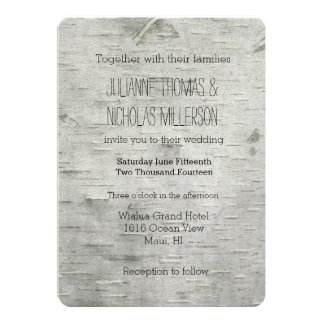 Birch Tree Faux Wood Wedding Card