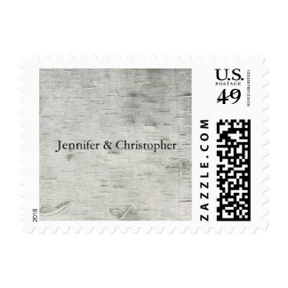 Birch Tree Faux Wood Wedding Postage