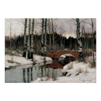 Birch tree forest winter replica painting poster