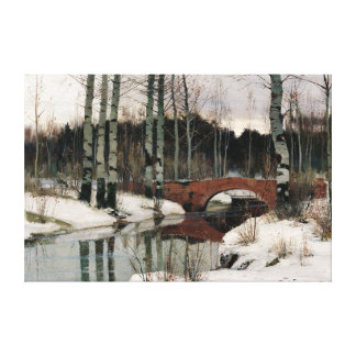 Birch tree forest winter scene canvas painting