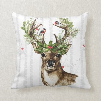 Birch Tree forest with a woodland Christmas deer Throw Pillow