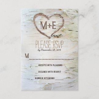 Birch tree heart initials rustic wedding RSVP card