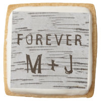 Birch tree heart initials rustic wedding square shortbread cookie