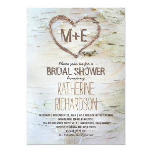 Heart bridal shower invitations zazzle birch tree heart rustic bridal shower invites filmwisefo