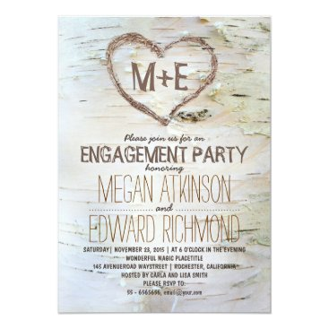 Valentines Themed Birch tree heart rustic engagement party invites