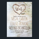"""Birch Tree Heart Rustic Fall Wedding Card<br><div class=""""desc"""">Beautiful white birch bark texture and carved love heart rustic wedding invitation. Perfect for outdoor and barn weddings with birch tree accents.</div>"""