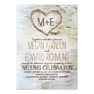 Birch Tree Heart Rustic Fall Wedding Card