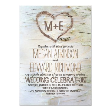 Valentines Themed Birch Tree Heart Rustic Fall Wedding Card