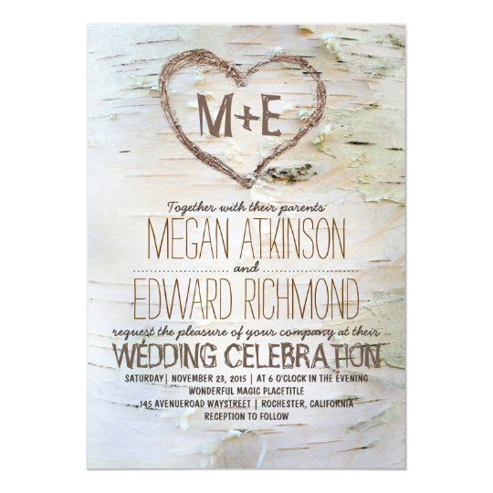 Birch Tree Heart Rustic Fall Wedding Card Zazzle Com