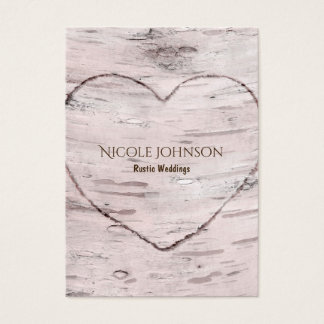 Birch Tree & Heart Rustic Natural Bridal Wedding Business Card