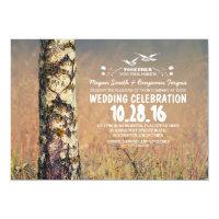 birch tree & heart rustic wedding invites