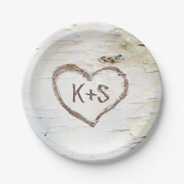 Valentines Themed Birch Tree Heart Rustic Wedding Paper Plate
