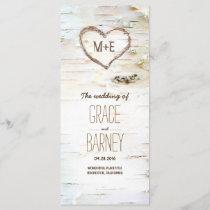 Birch Tree Heart Rustic Wedding Programs