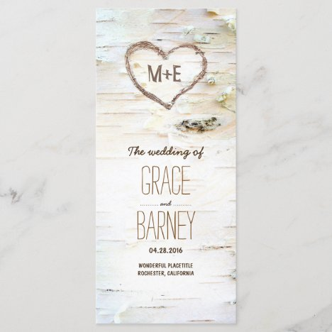 Birch Tree Heart Rustic Wedding Programs