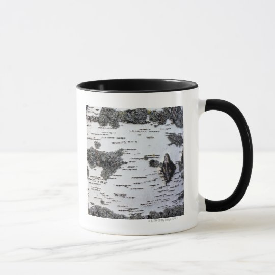 Birch tree in forest, detail, with moss mug