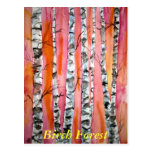 birch tree landscape abstract art Forest postcard