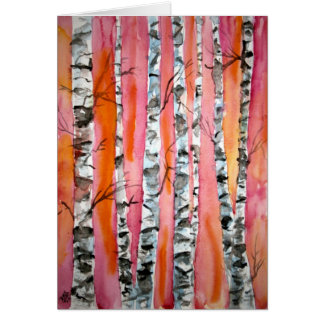 birch tree landscape abstract art greeting card