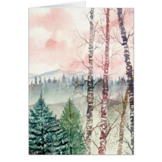 birch tree landscape painting card