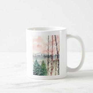birch tree landscape painting mugs