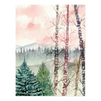 birch tree landscape painting postcard