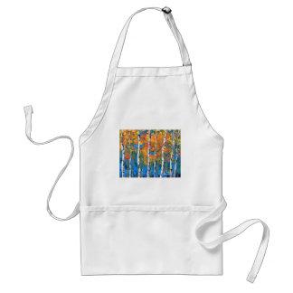 Birch Tree Painting, Blue Birch, Fall textured Art Adult Apron