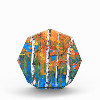 Birch Tree Painting, Blue Birch, Fall textured Art Award