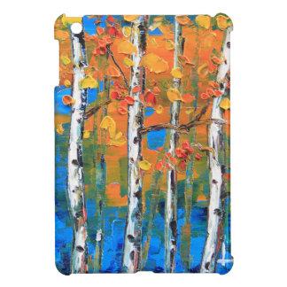 Birch Tree Painting, Blue Birch, Fall textured Art iPad Mini Cover