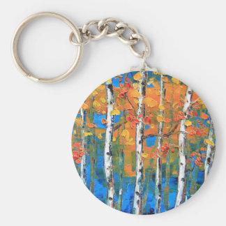 Birch Tree Painting, Blue Birch, Fall textured Art Keychain