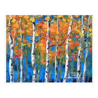 Birch Tree Painting, Blue Birch, Fall textured Art Postcard