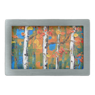 Birch Tree Painting, Blue Birch, Fall textured Art Rectangular Belt Buckle